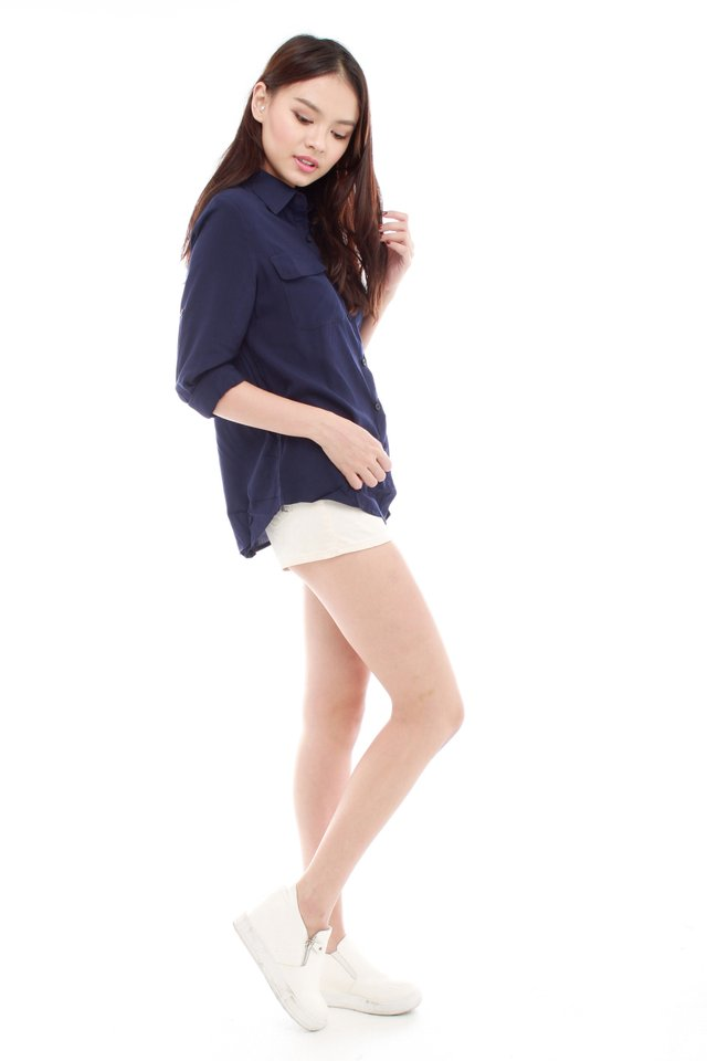 *BACK IN STOCK* Weekender Oversized Shirt in Navy