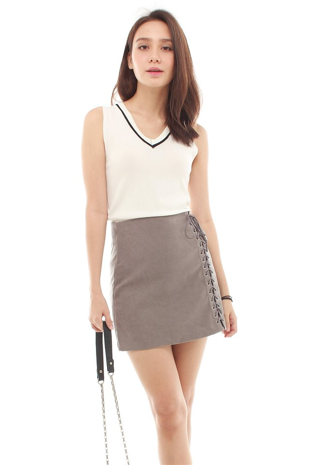 *BACK IN STOCK* Shoelace Detail Suede Skirt in Grey
