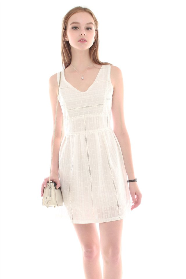 *BACK IN STOCK* ACW Eyelet V Neck Flare Dress in White