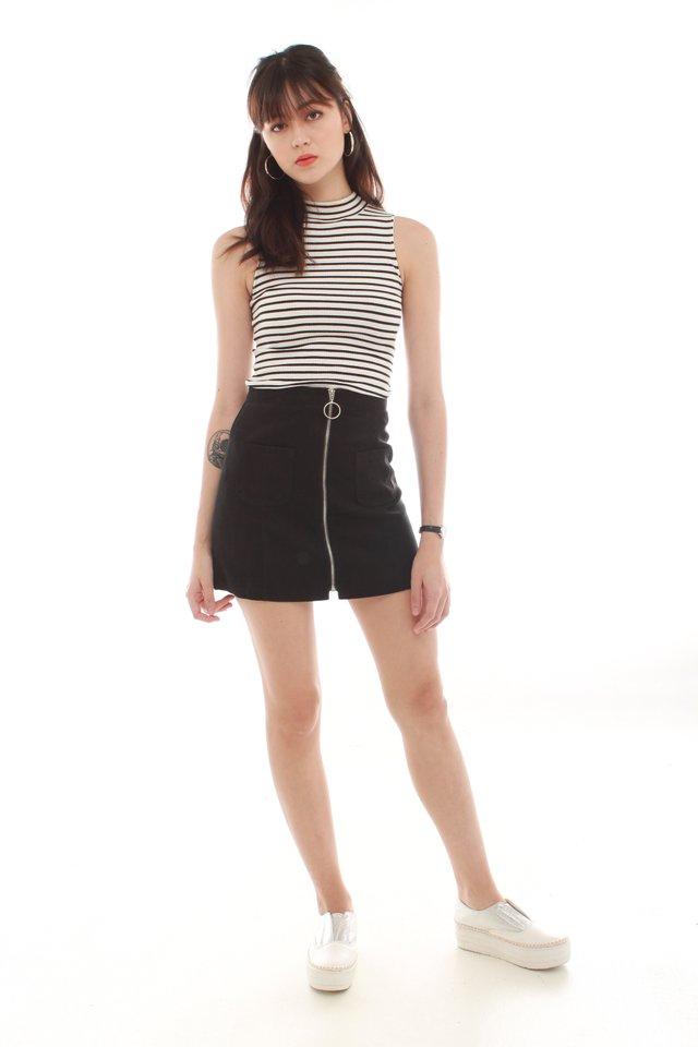 *BACK IN STOCK* Exposed Zipper Suede Skirt in Black