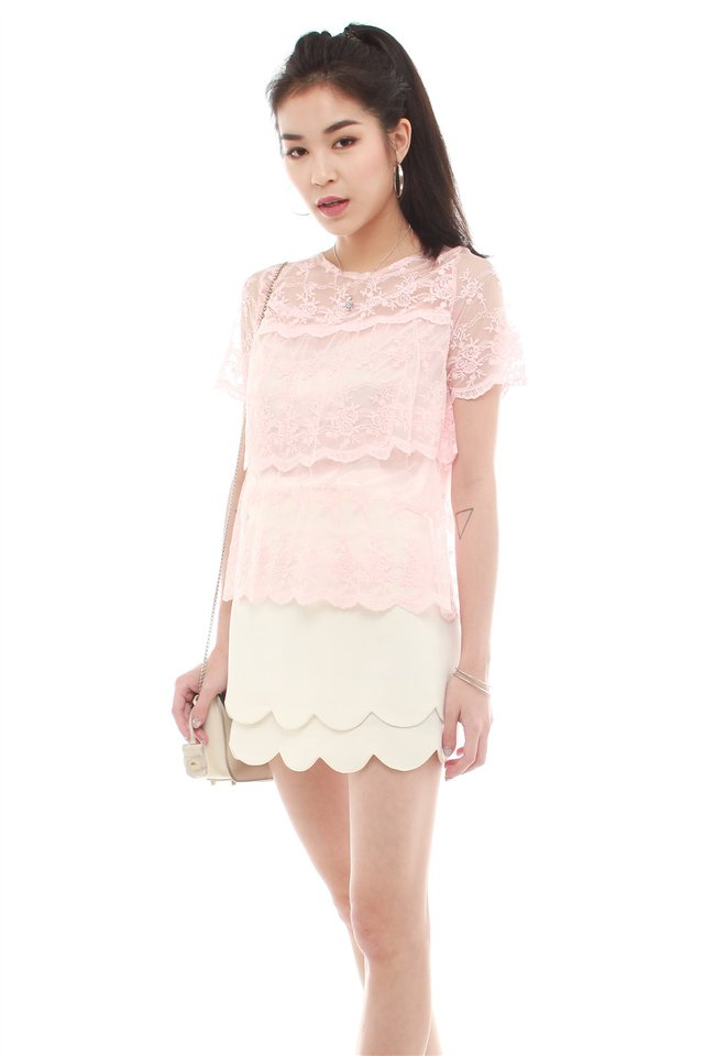 Lace Panel Scallop Hem Top in Blush