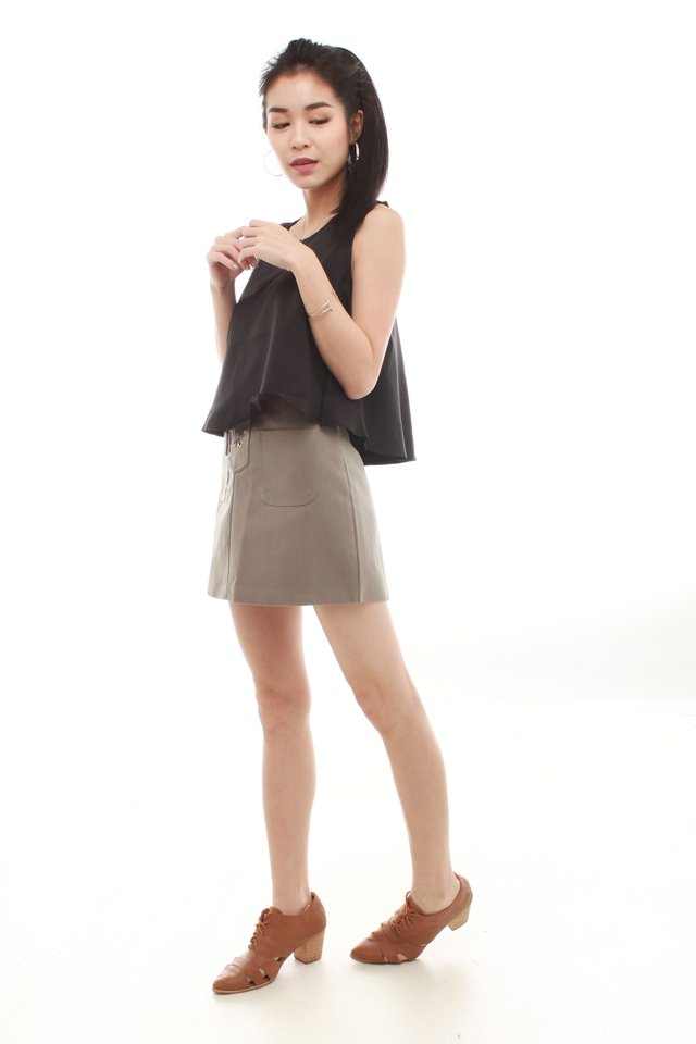 *BACK IN STOCK* Lace Tie Suede Skirt in Grey
