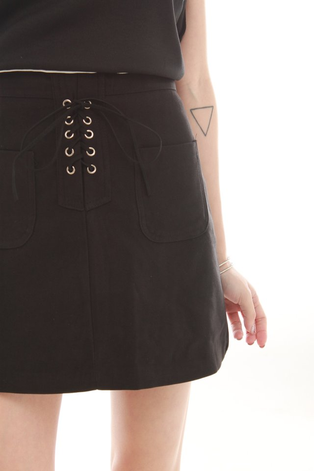 *BACK IN STOCK* Lace Tie Suede Skirt in Black
