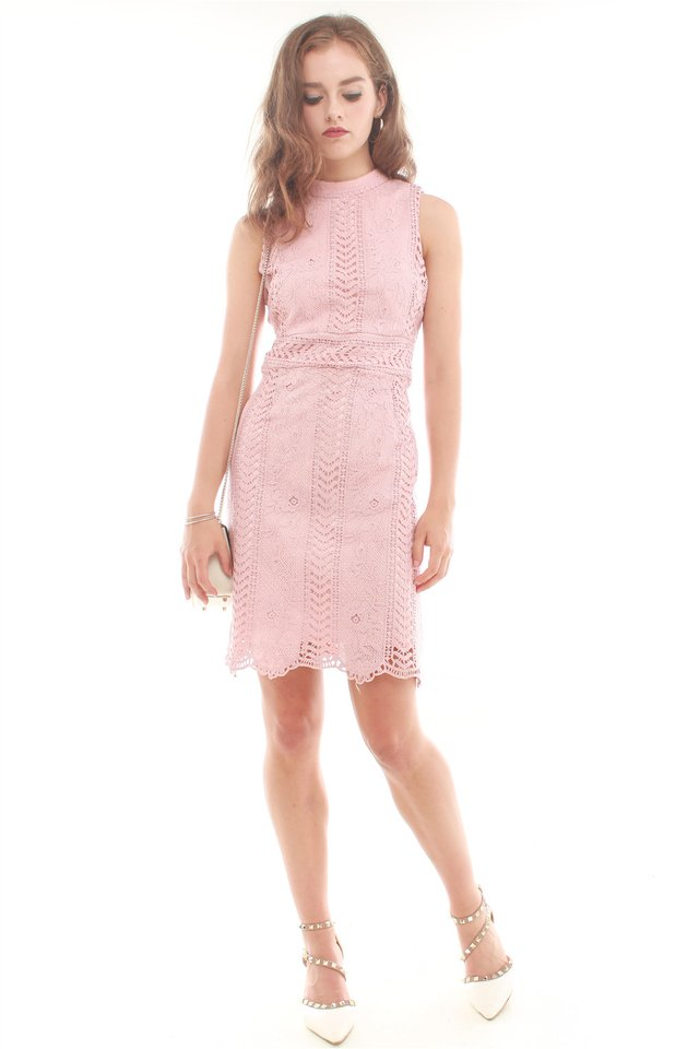 ACW High Neck Lace Detail Dress in Blush