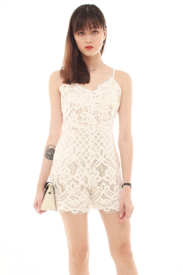 Eyelash Lace Trimming Romper in White