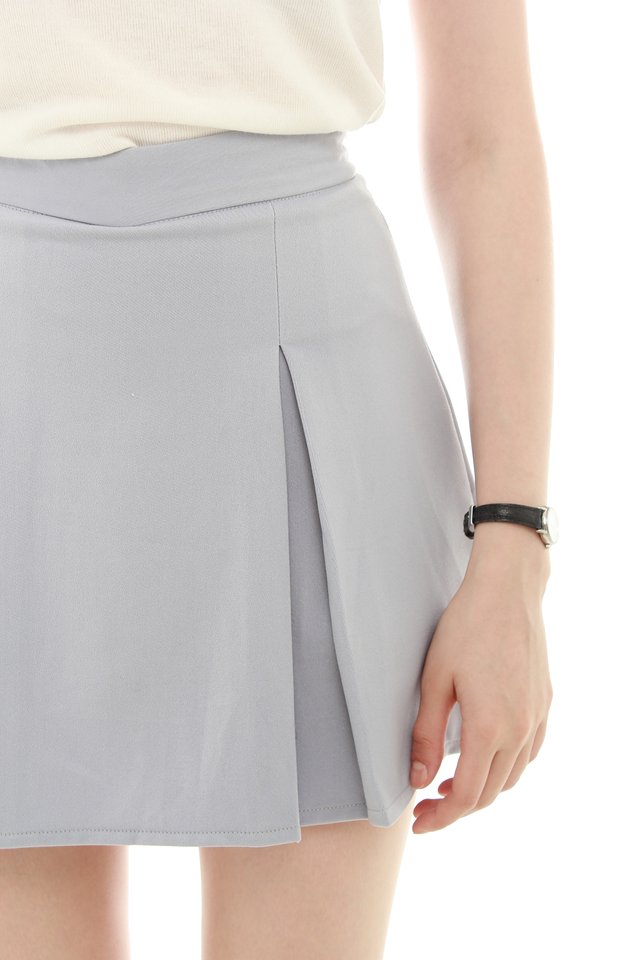 *BACK IN STOCK* Box Pleated Skirt in Dusty Grey