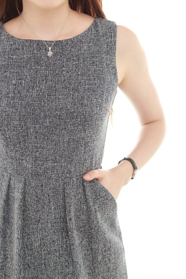 *BACK IN STOCK* Tweed Textured Work Dress in Blue Grey