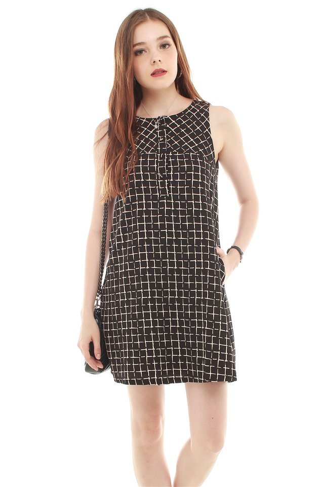 Grid Squares Trapeze Dress in Black