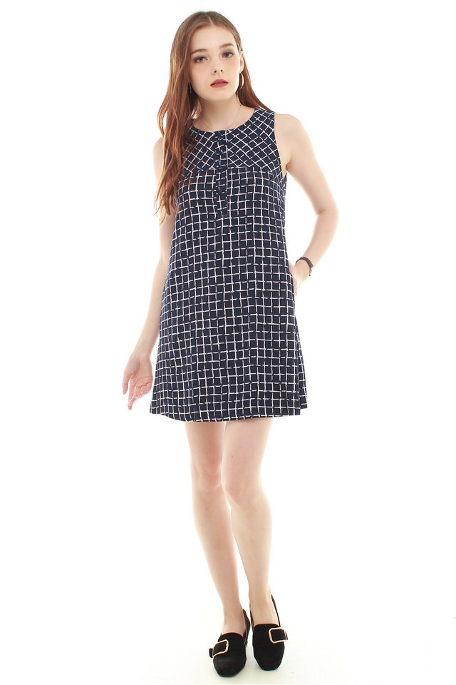 Grid Squares Trapeze Dress in Blue