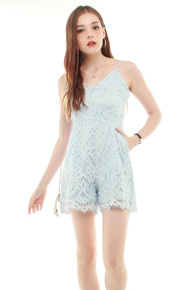 Eyelash Lace Trimming Romper in Sky