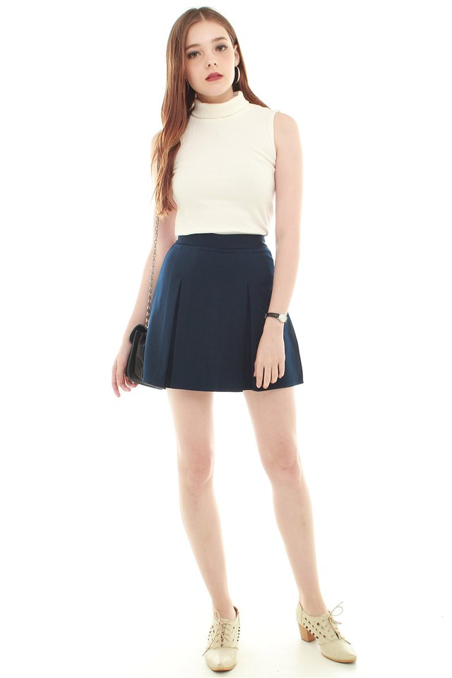 *BACK IN STOCK* Box Pleated Skirt in Navy