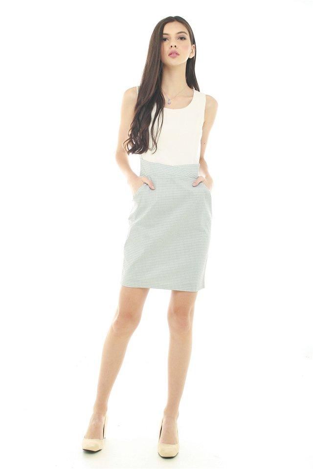 Tweed Contrast Pocket Work Dress in Sky Checks