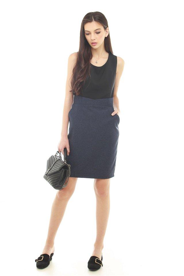 *BACK IN STOCK* Tweed Contrast Pocket Work Dress in Navy