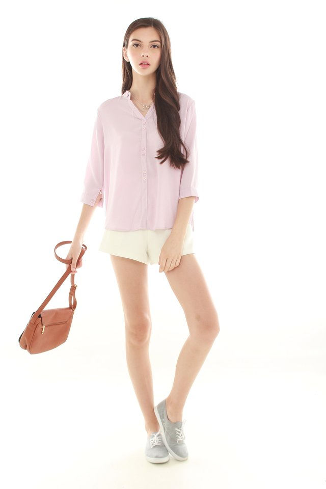 *BACK IN STOCK* Button Down Mandarin Shirt in Blush