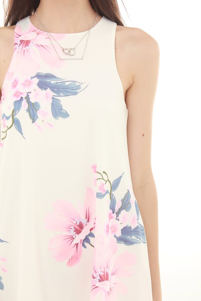 *BACK IN STOCK* Spring Florals Pocket Trapeze Dress in White