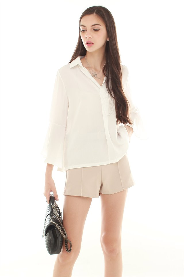 *BACK IN STOCK* Bell Sleeve Flutter Shirt in White