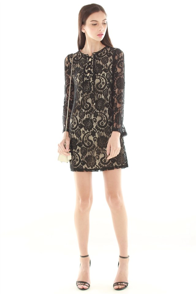 *BACK IN STOCK* Lace Tie Overlay Dress in Black