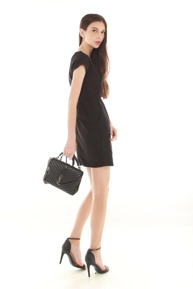 *BACK IN STOCK* ACW Front Wrap Pocket Work Dress in Black
