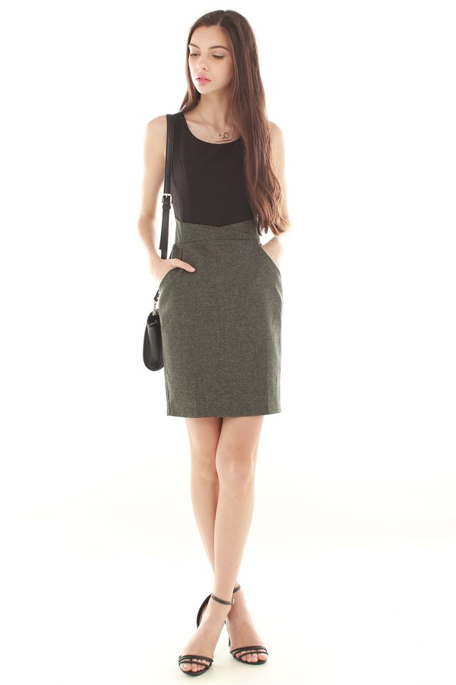Tweed Contrast Pocket Work Dress in Olive