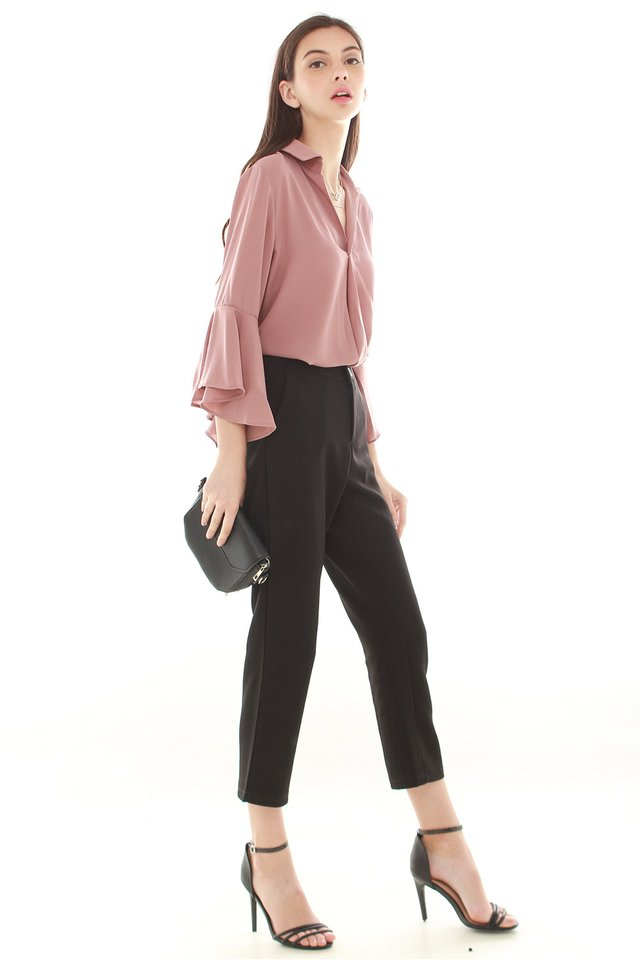 *BACK IN STOCK* Bell Sleeve Flutter Shirt in Mauve
