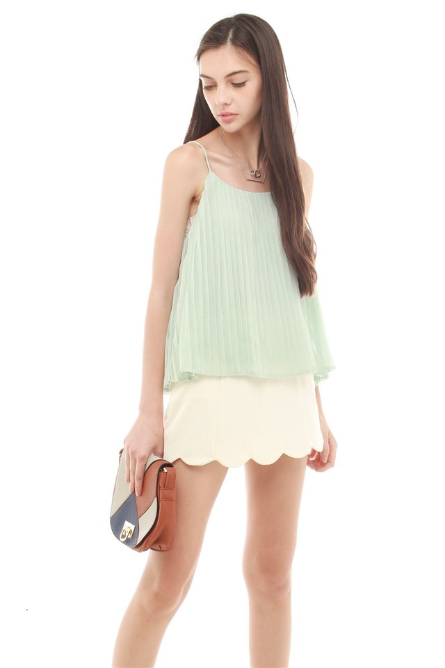Pleated Lines Cami Top in Mint