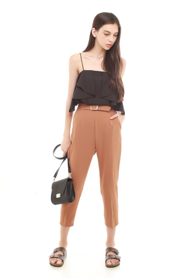 *BACK IN STOCK* Buckle Straight Cut Pants in Camel