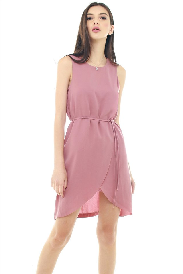 *BACK IN STOCK* ACW Overlap Sash Tie Dress in Mauve
