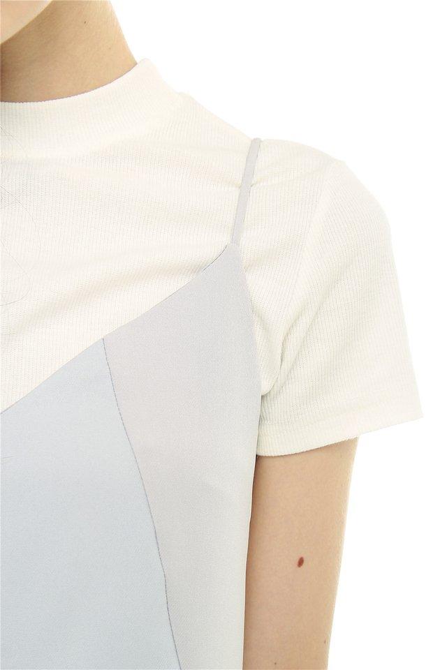 Colourblocking Panel Slip Dress in Dusty Grey