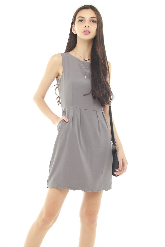 *BACK IN STOCK* ACW Scallop Wave Hem Pocket Work Dress in Grey
