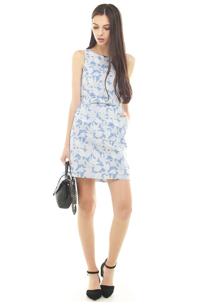Tropic Floral Printed Belted Dress in Blue