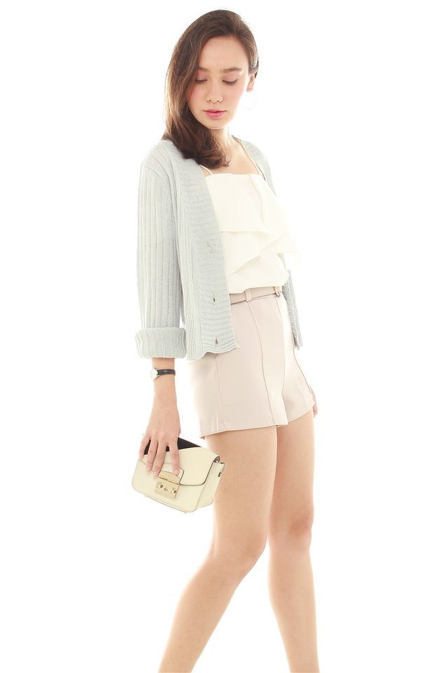 Button Down Knitted Cardigan in Powder Blue