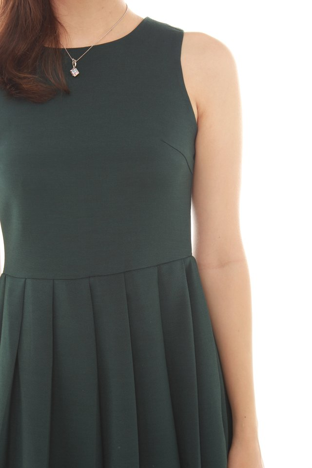 Thick Pleated Fit and Flare Dress in Emerald