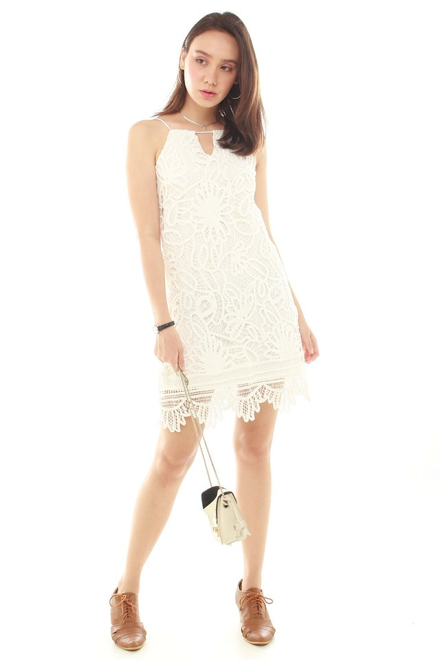 Crotchet Overlay Cut In Neckline Dress in White