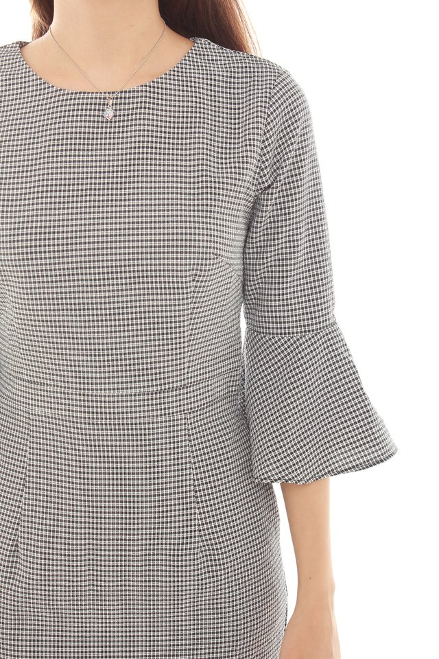 Bell Sleeve Structured Work Dress in Navy Houndstooth