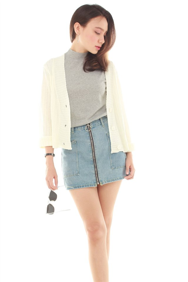 Button Down Knitted Cardigan in White