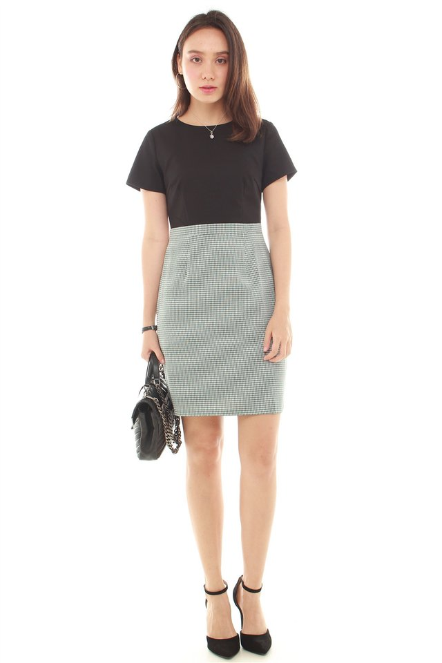 Colourblocking Textured Work Dress