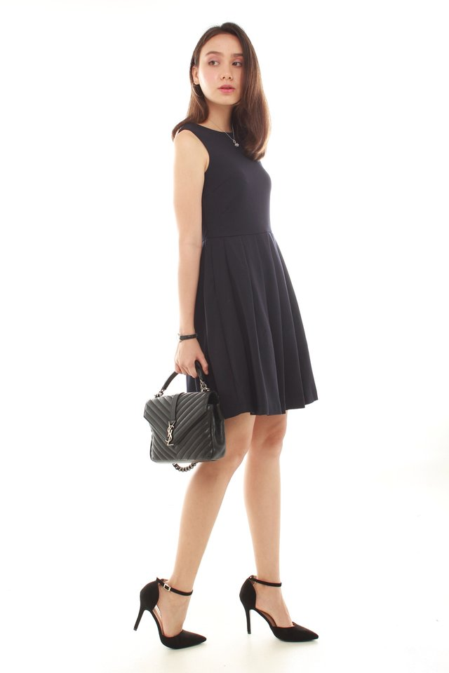 Thick Pleated Fit and Flare Dress in Navy