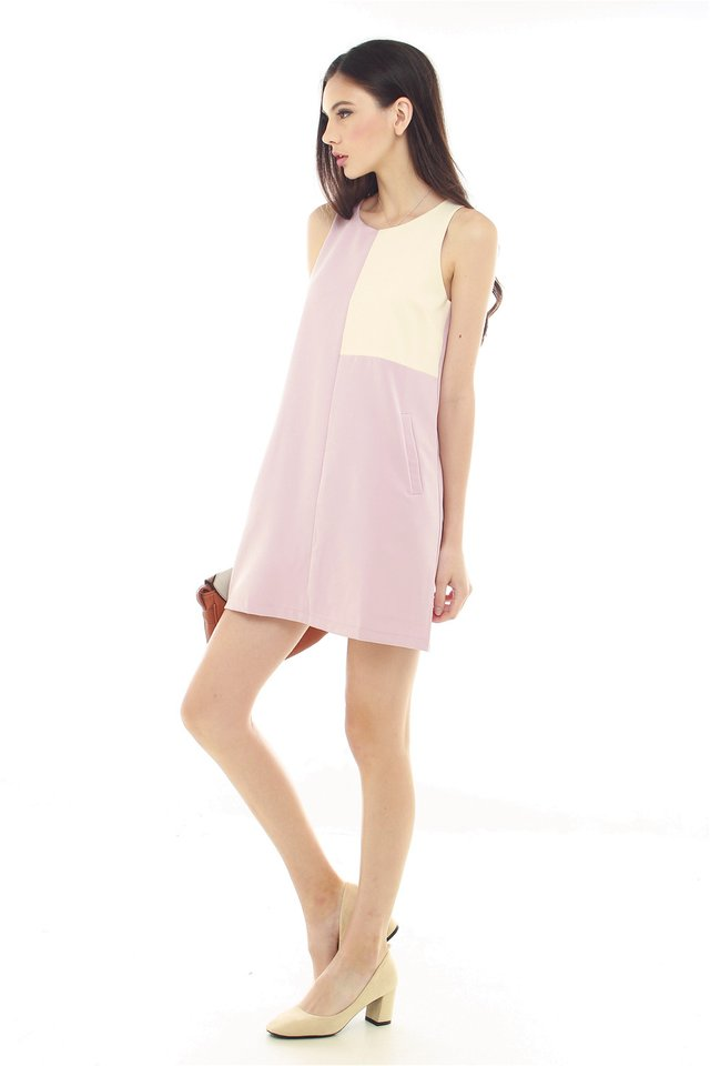 *BACK IN STOCK* Abstract Colourblock Shift Dress in Dusty Pink