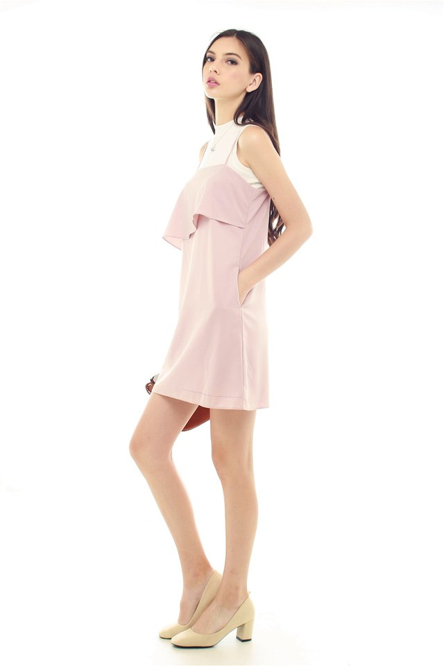 *BACK IN STOCK* ACW Layered Pocket Slip Dress in Blush