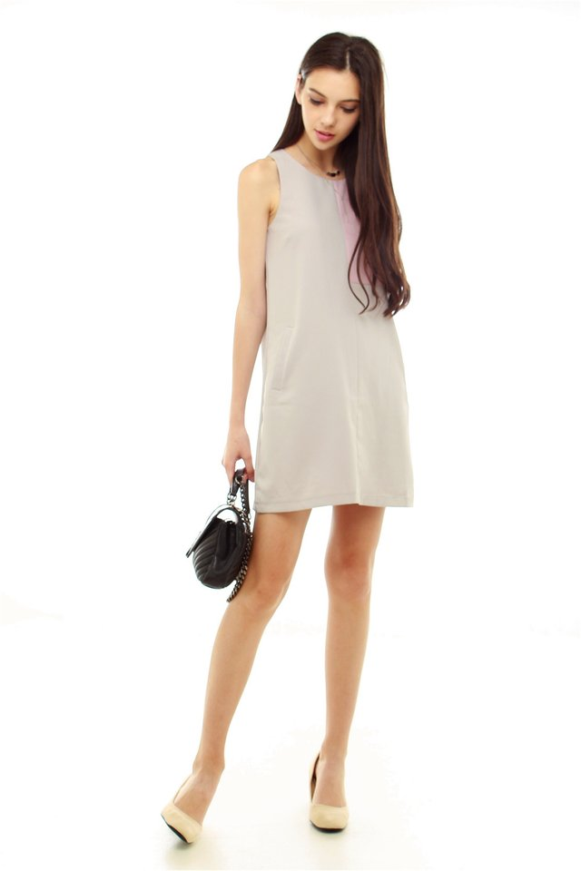 Abstract Colourblock Shift Dress in Grey