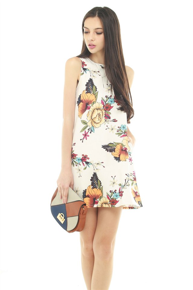 *BACK IN STOCK* ACW Tropical Florals Pocket Trapeze Dress in White