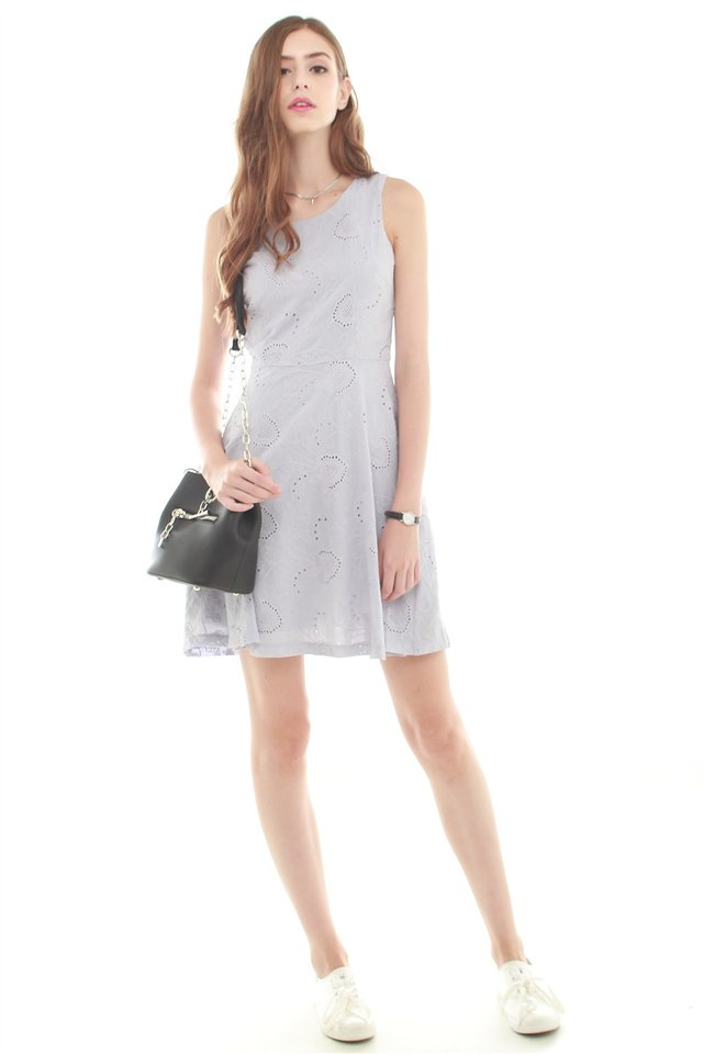 Eyelet Fit and Flare Dress in Dusty Grey