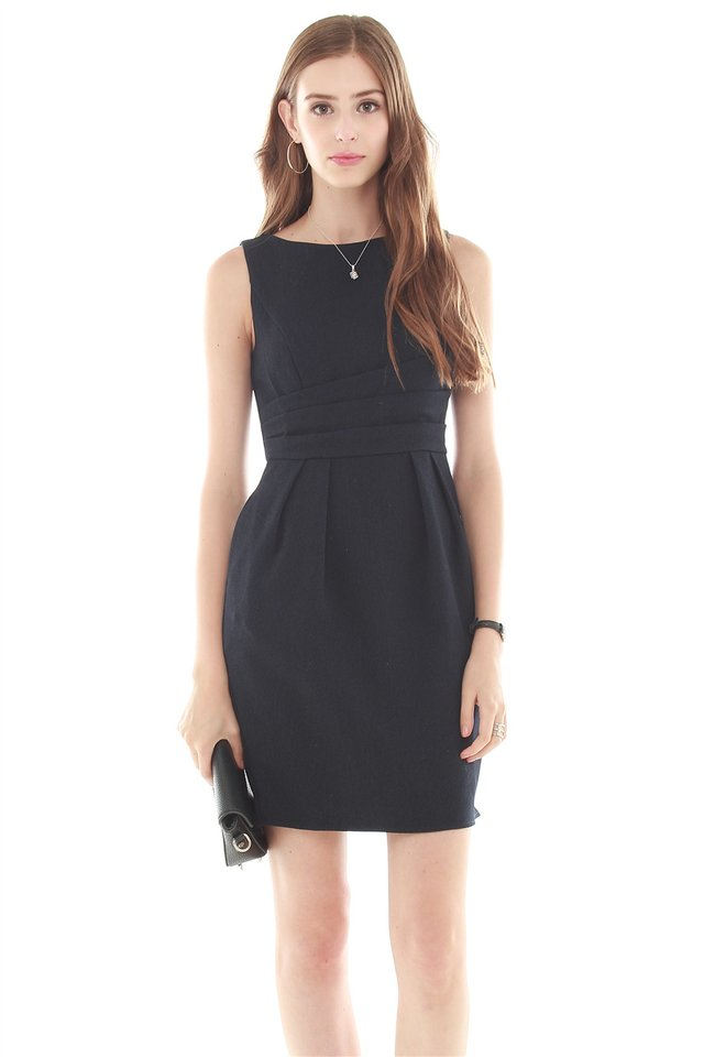*BACK IN STOCK* Wrapped Waist Work Dress in Navy