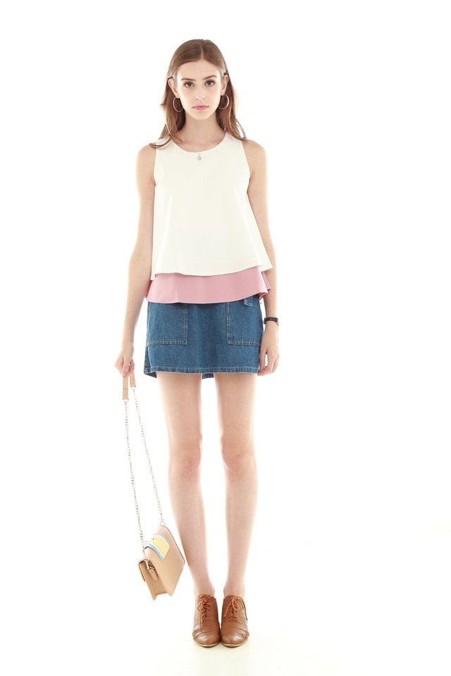 Colourblocking Layered Top in Mauve