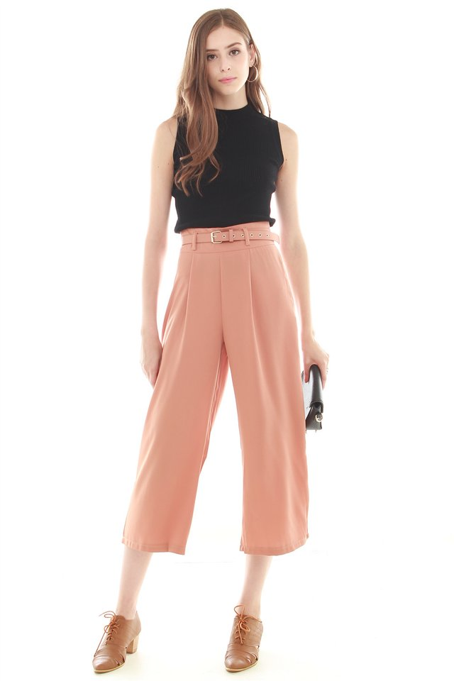 *BACK IN STOCK* Belted Flare Trousers in Rust