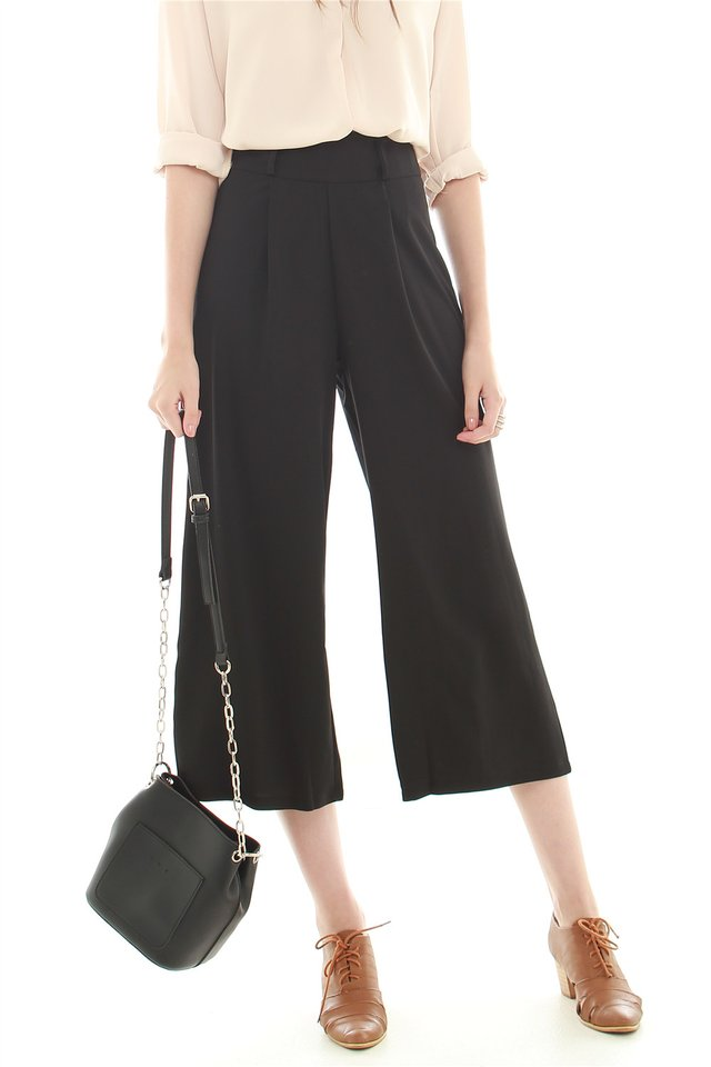 *BACK IN STOCK* Belted Flare Trousers in Black