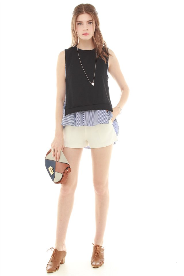 Sleeveless Two Piece Flutter Top in Black