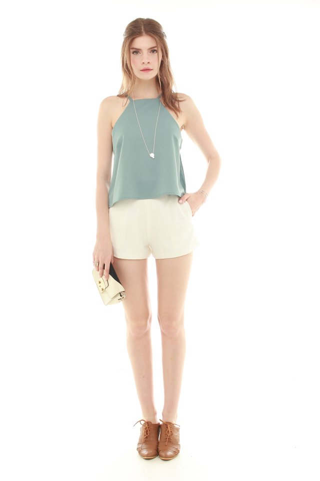 *BACK IN STOCK* ACW Cut In Neckline Top in Turquoise