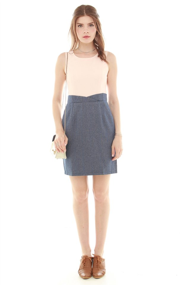 Tweed Contrast Pocket Work Dress in Blush