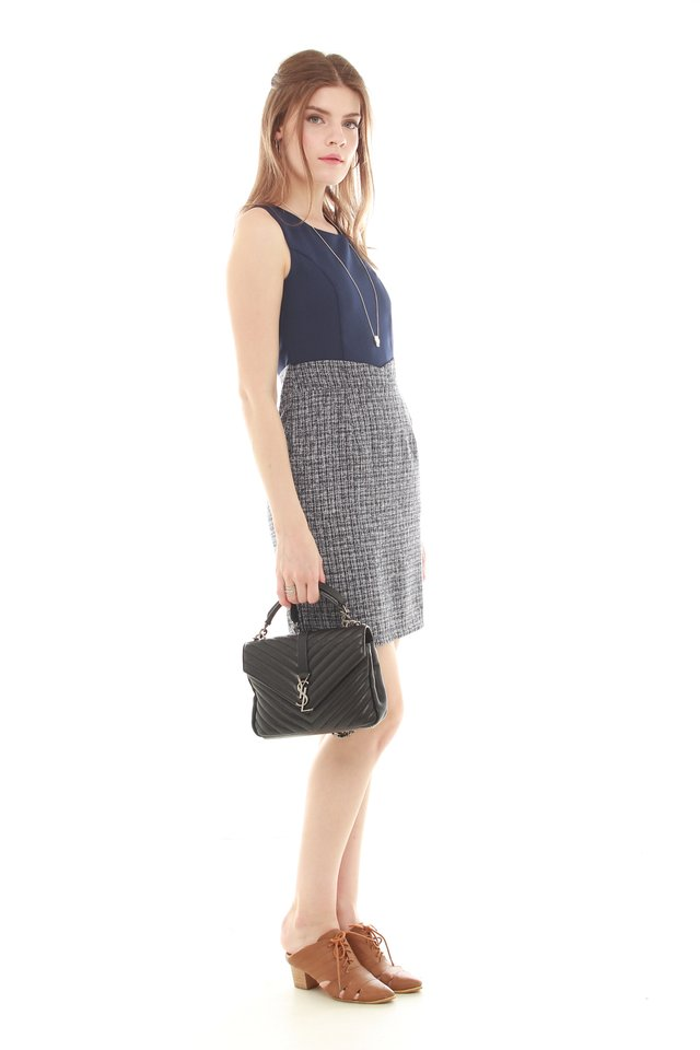 Tweed Contrast Pocket Work Dress in Navy Tweed